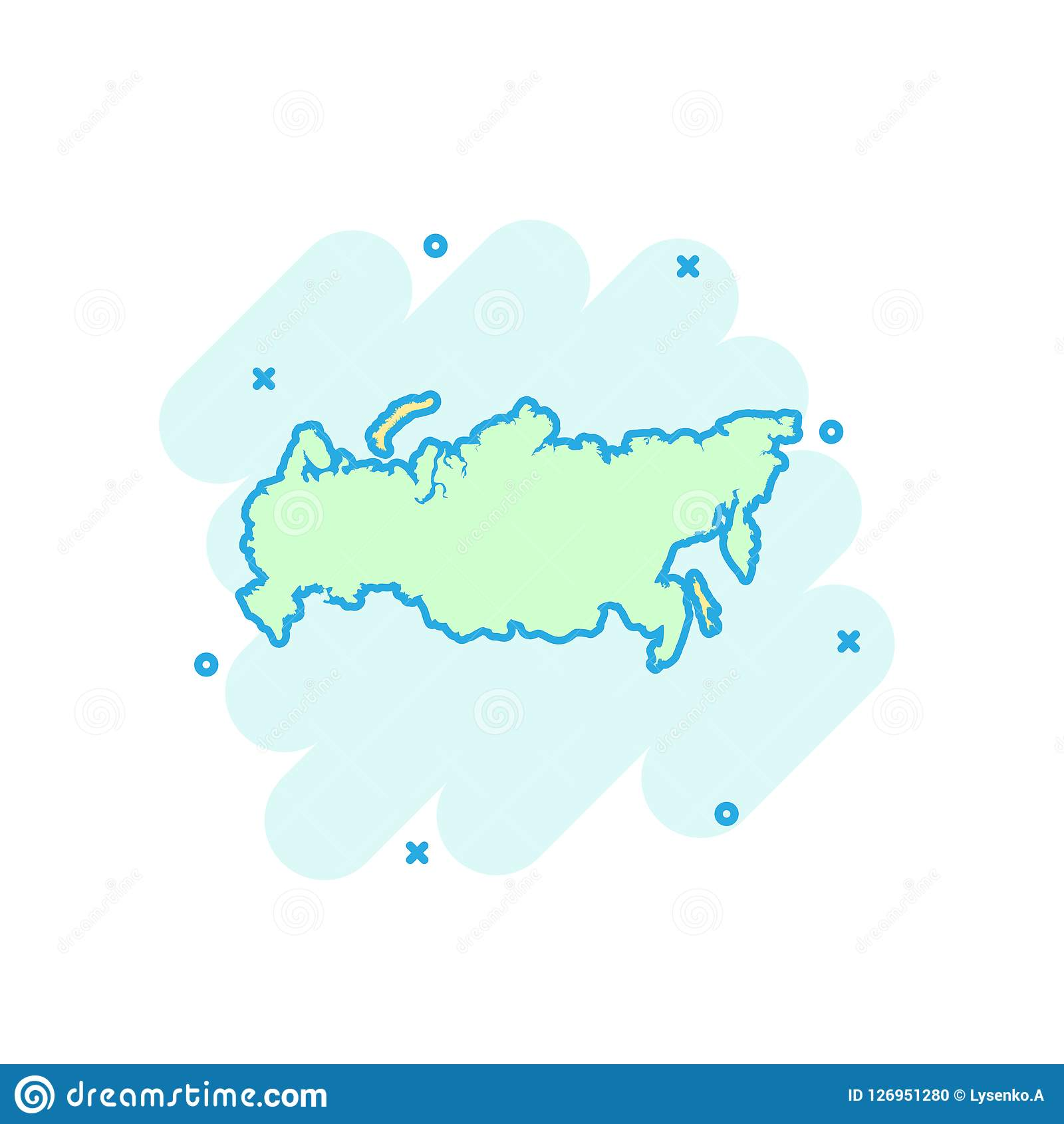 Cartoon colored Russia map icon in comic style. Russian Federation sign illustration pictogram. Country geography splash business