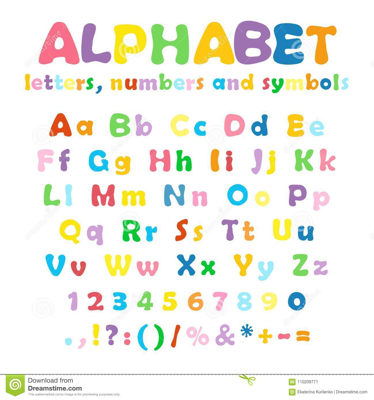 Alphabet Numbers And Symbols Stock Vector Illustration Of