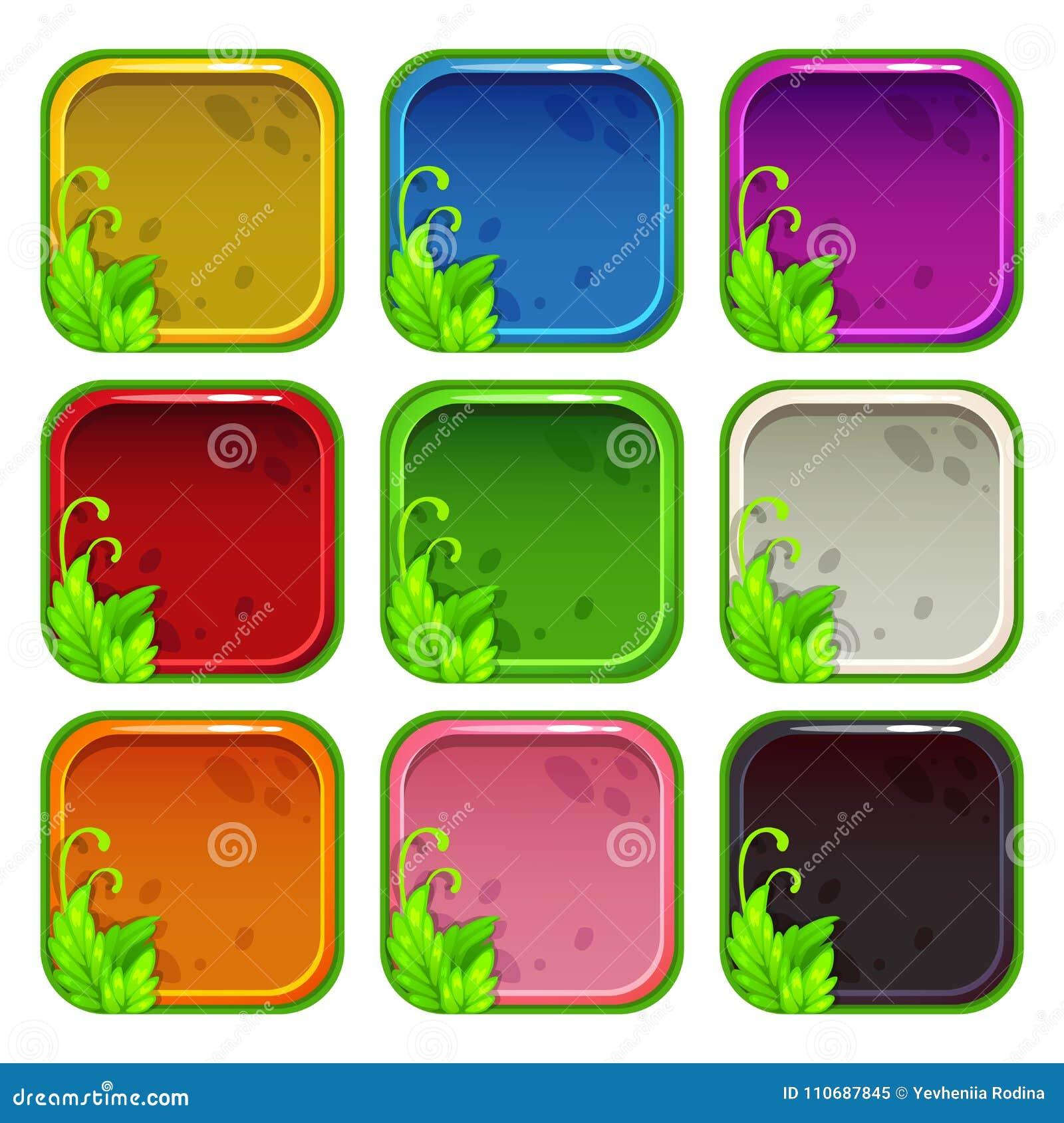 Cartoon Colorful App Icon Frames Set Stock Vector - Illustration of ...