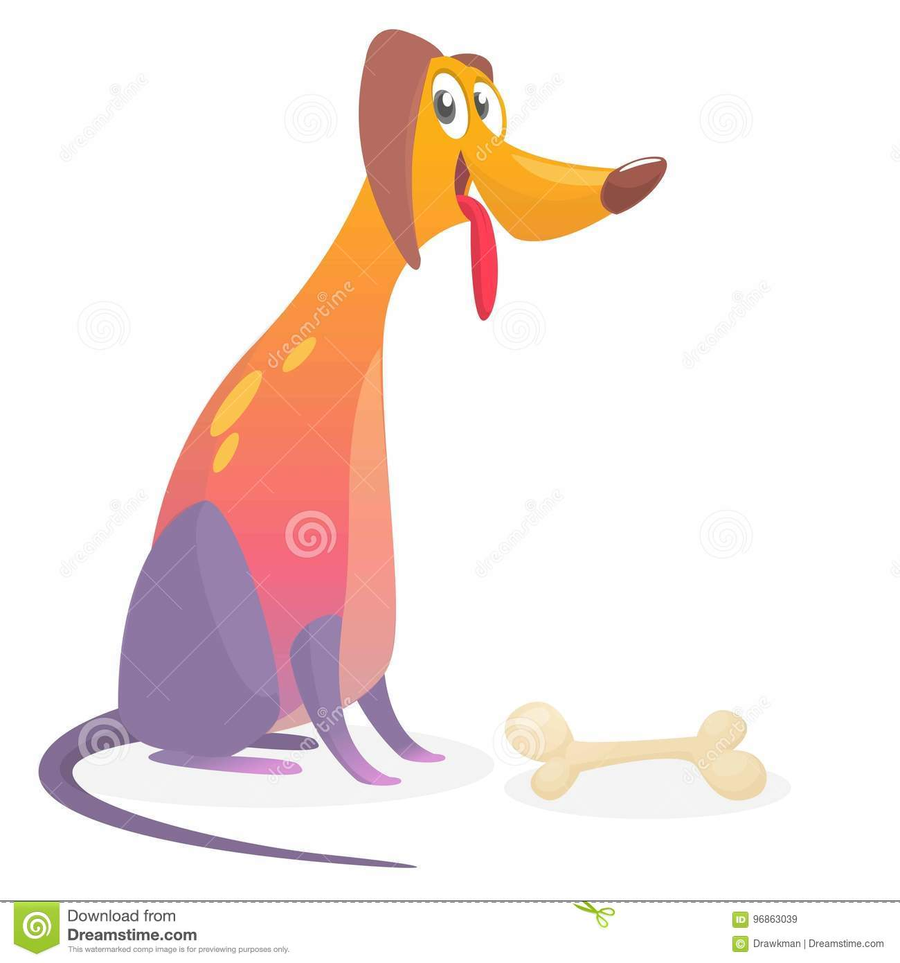 Cartoon colorful dog. Happy furry dog sitting. Design for icon or book illustration.