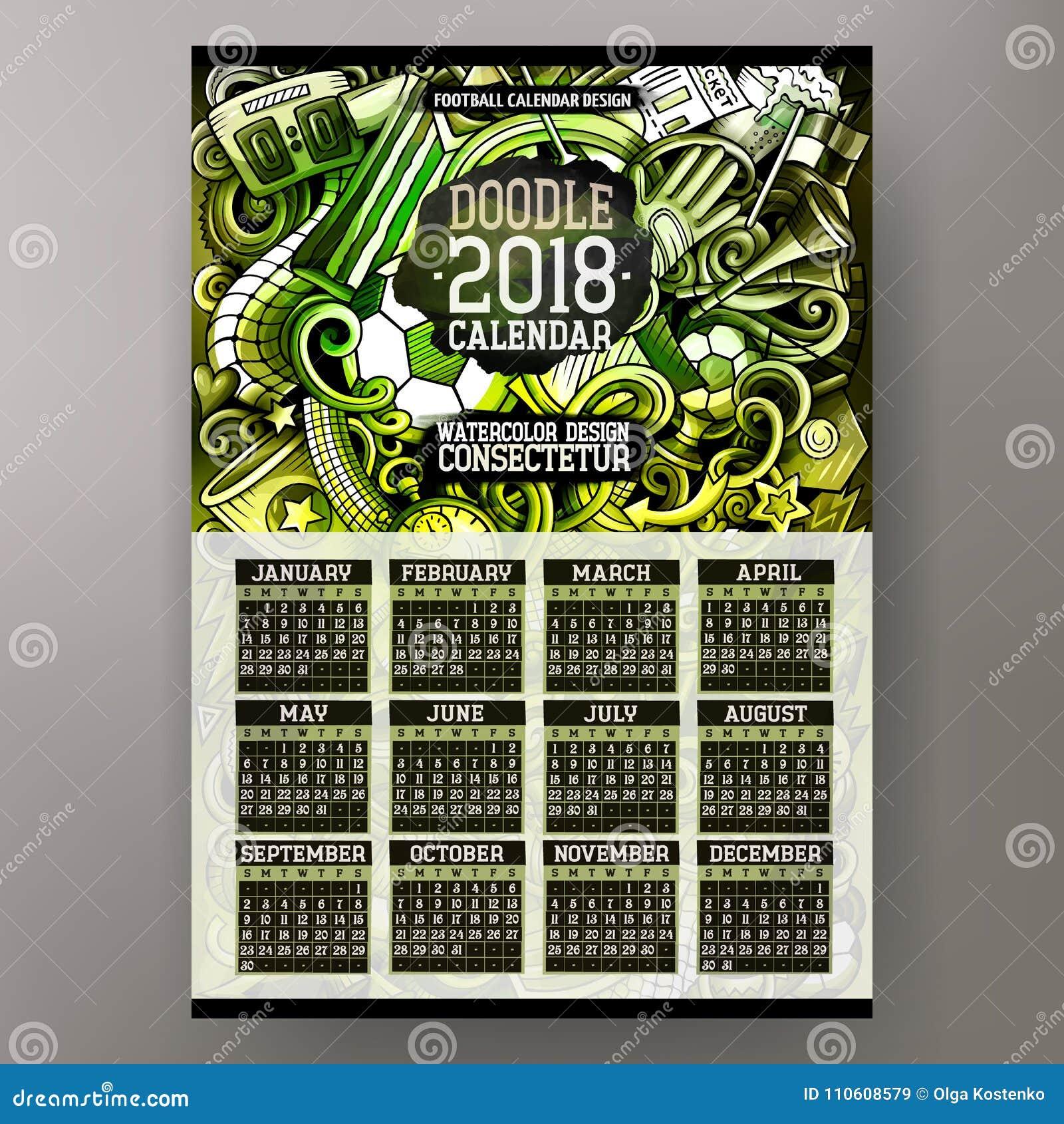 Cartoon Colorful Hand Drawn Doodles Football 2018 Year Calendar