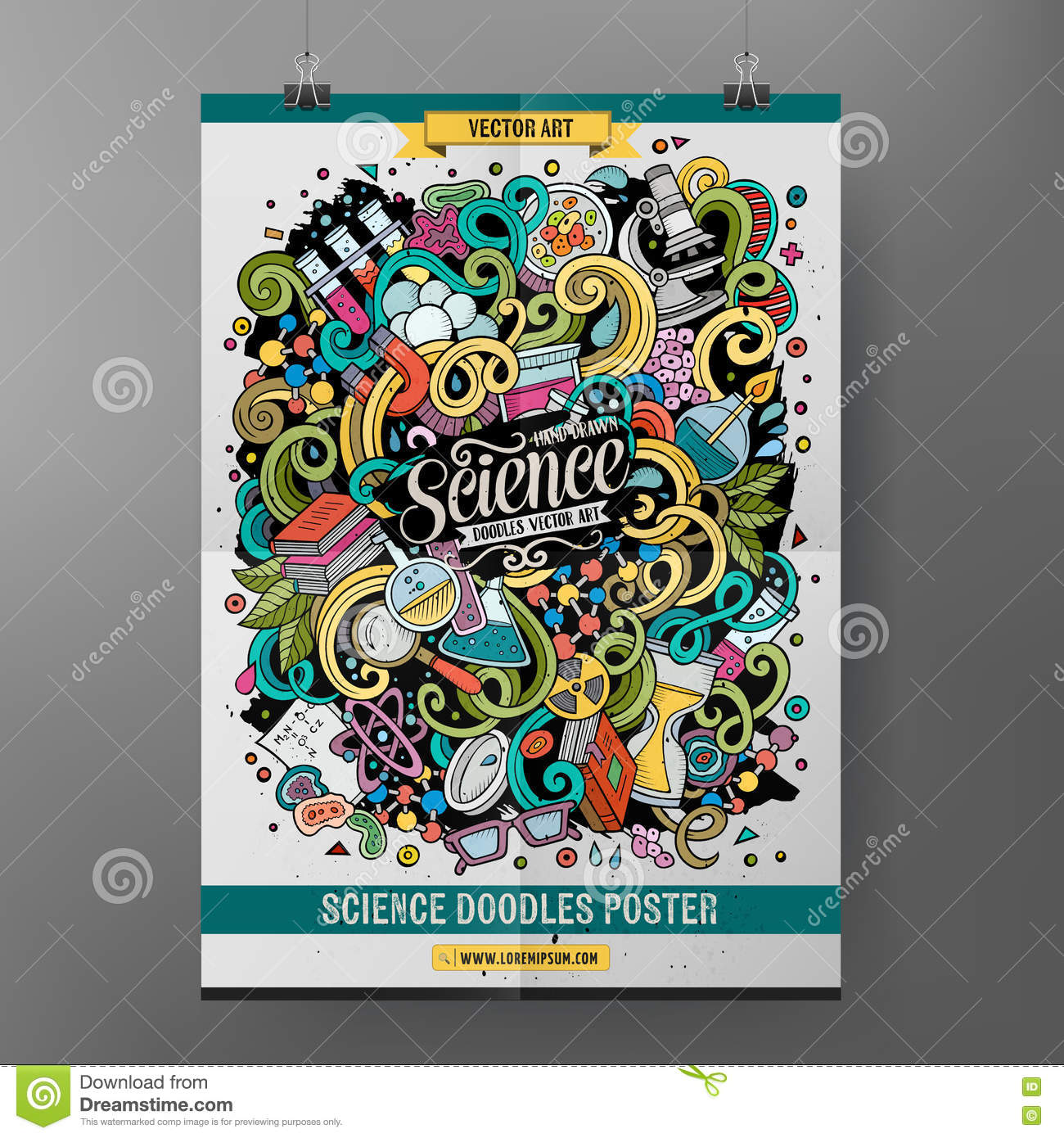 Cartoon Colorful Hand Drawn Doodles Science Poster Template Stock