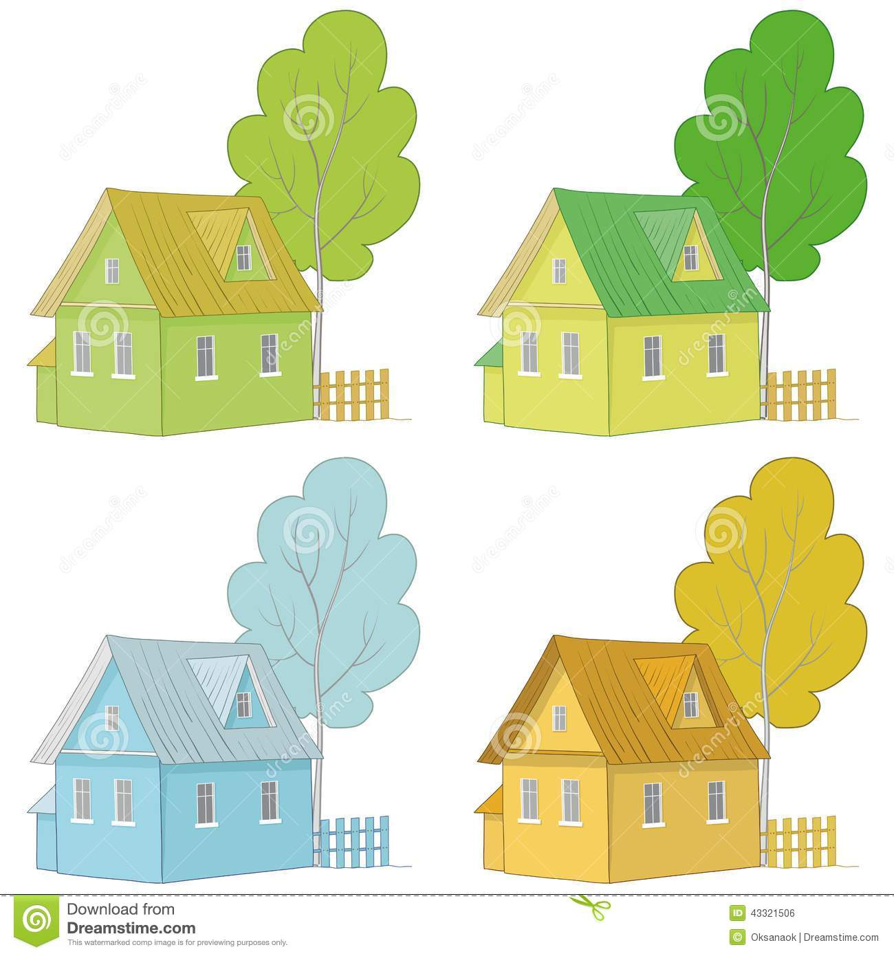 Cartoon colorful houses and trees stock vector image for Colorful tree house