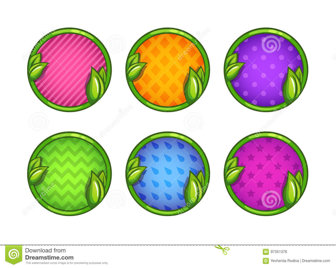 Cartoon colorful round buttons set