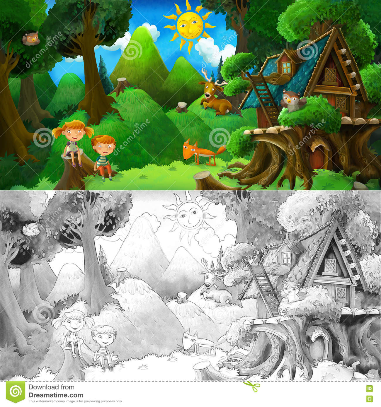 Cartoon Colorful Scene With Animal Friends Resting Under The Tree ...