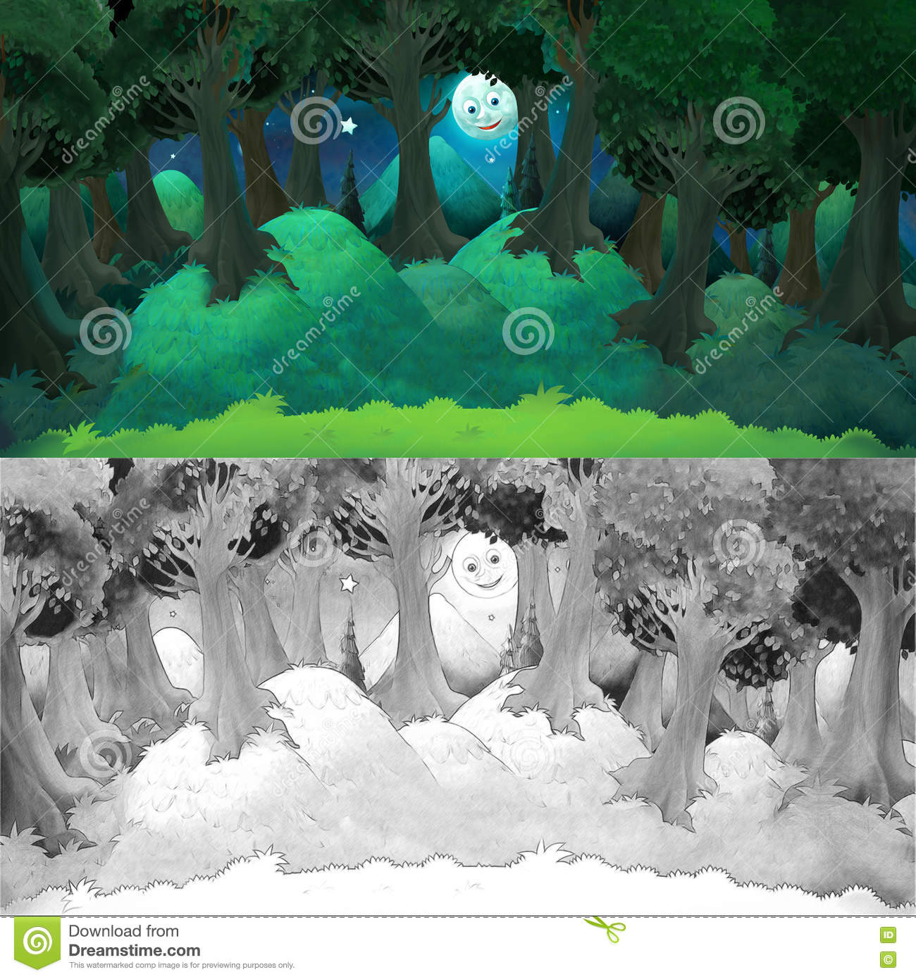 Cartoon Colorful Scene With Happy Moon Smiling Behind The Trees ...