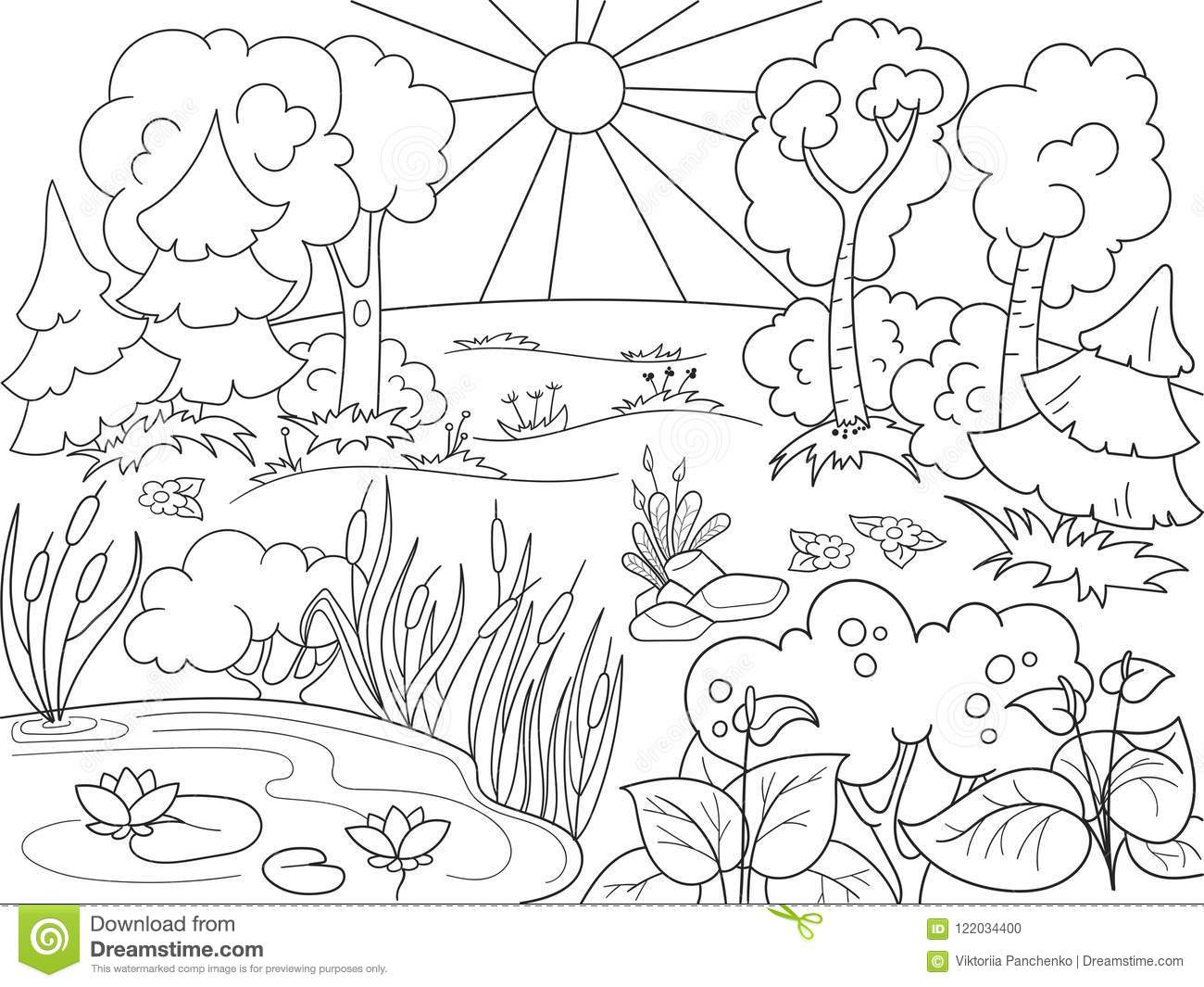 Cartoon Coloring Book Black And White Nature. Glade In The Forest ...