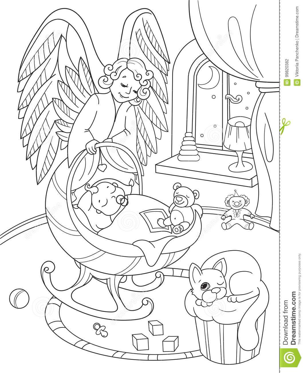 Coloring childrens room - Angel Book Coloring Guardian Interior Room