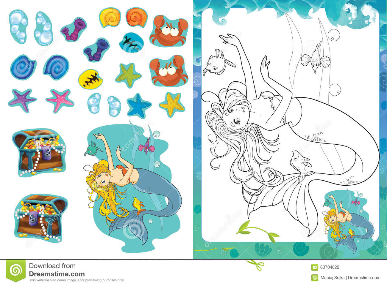 Cartoon Coloring Page With Stickers - Mermaid - Isolated Stock ...
