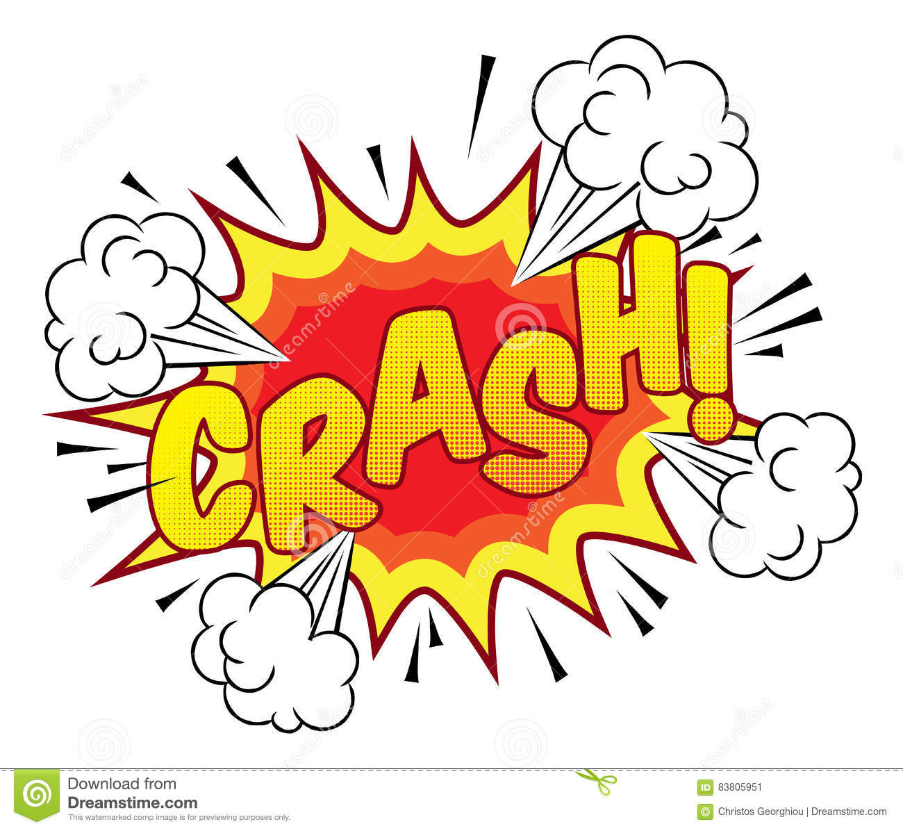 cartoon comic book crash explosion sound effect stock vector