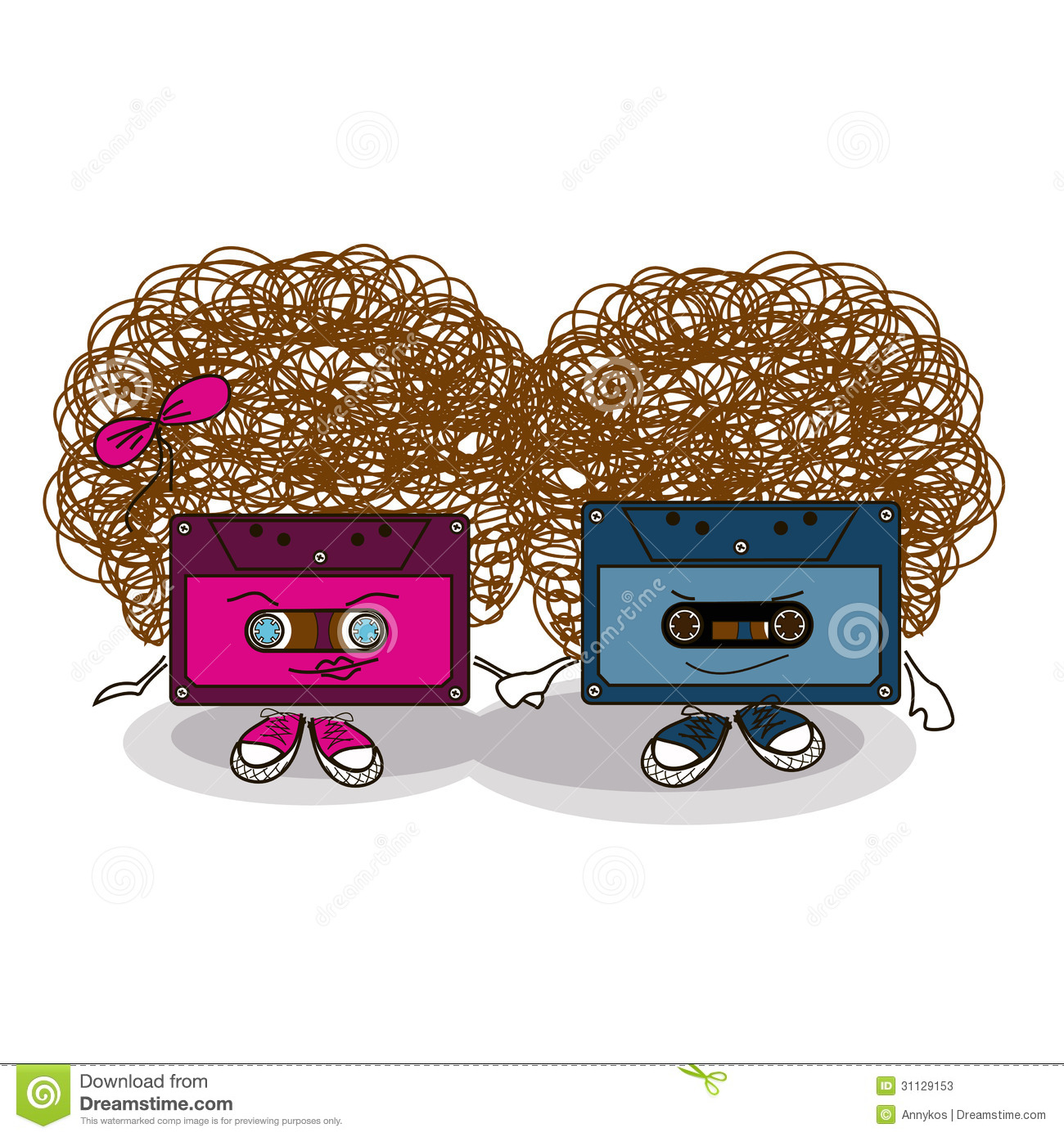 Cartoon Comic Cassette Tape Background Stock Vector