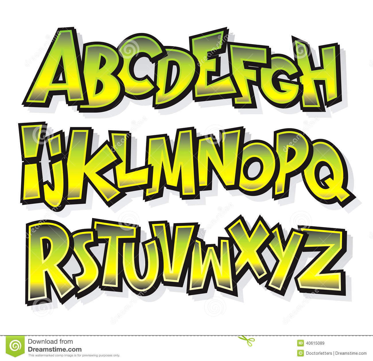 cartoon comic font alphabet vector