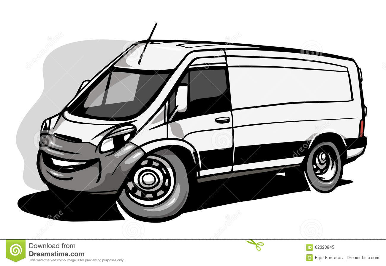 cartoon commercial van