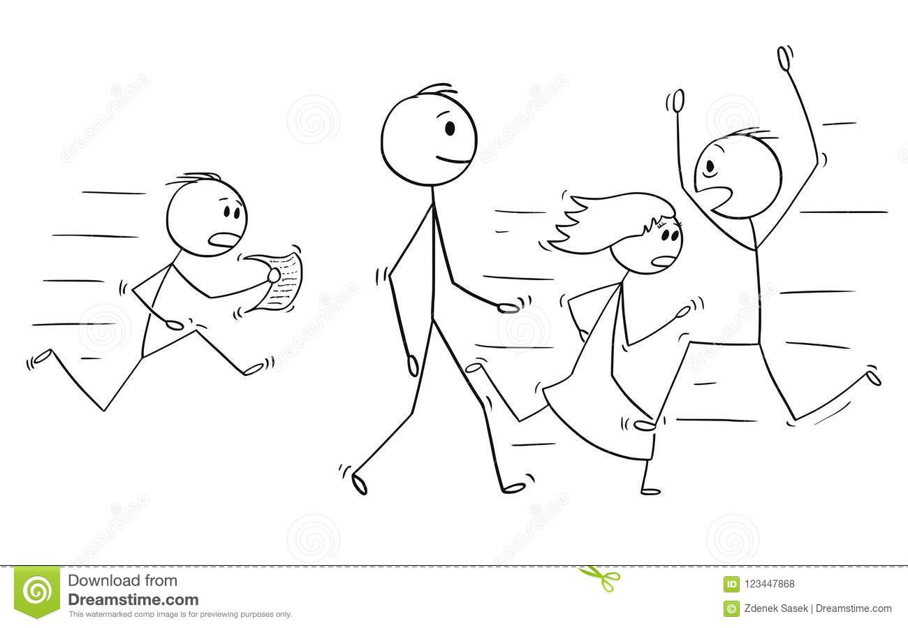 Cartoon of Confident Man or Businessman Walking Slowly With People Hurrying in Stress Around