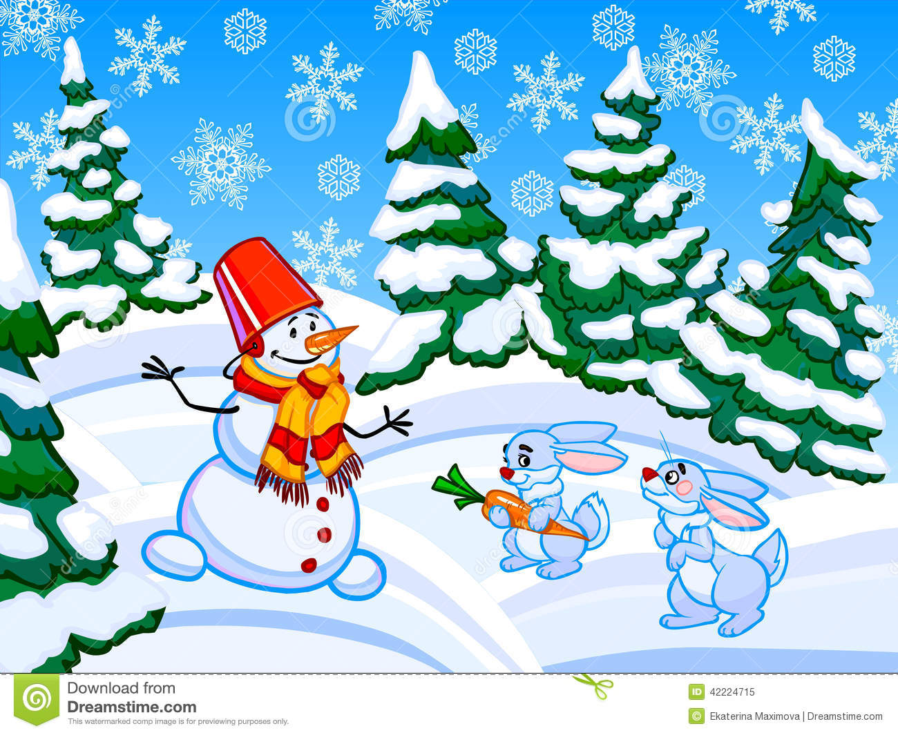 The Cartoon Coniferous Snowy Forest With A Snowman And Two