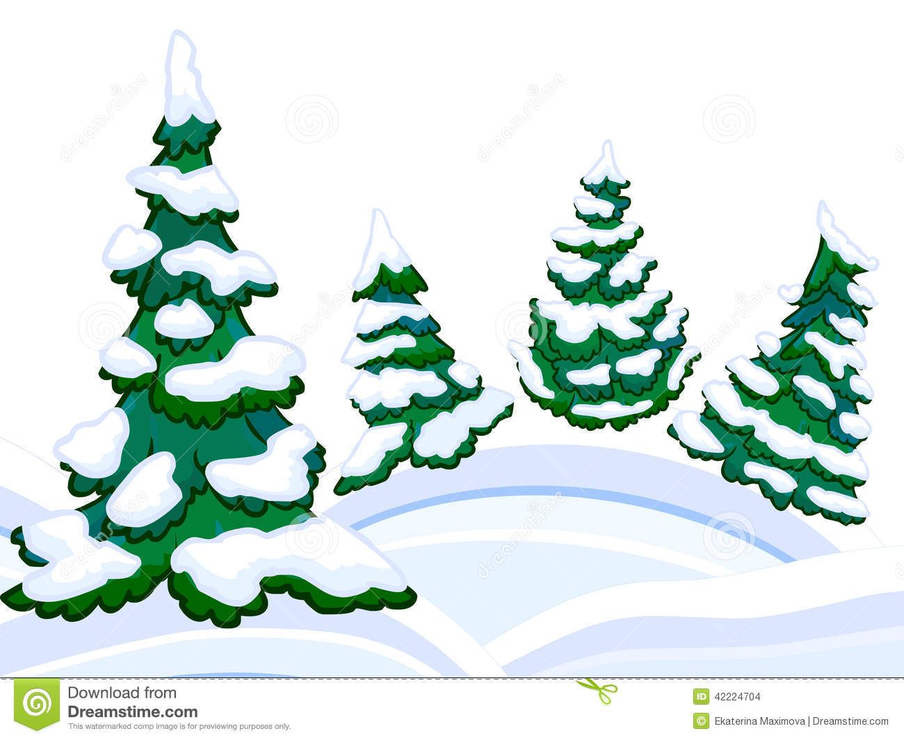 The Cartoon Coniferous Snowy Forest And Winter Snowdrifts