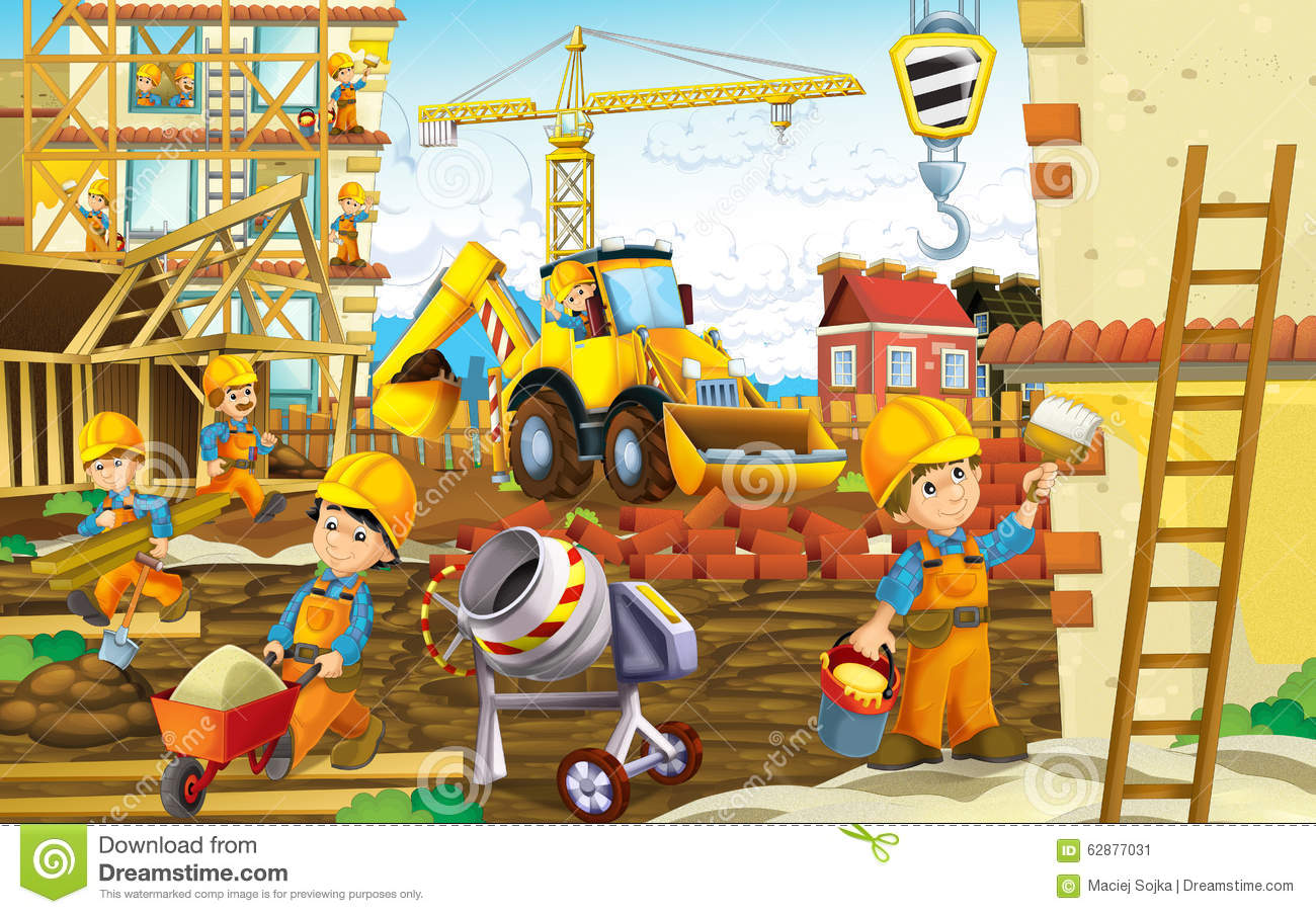 Cartoon construction site with working man stock for Free drawing websites