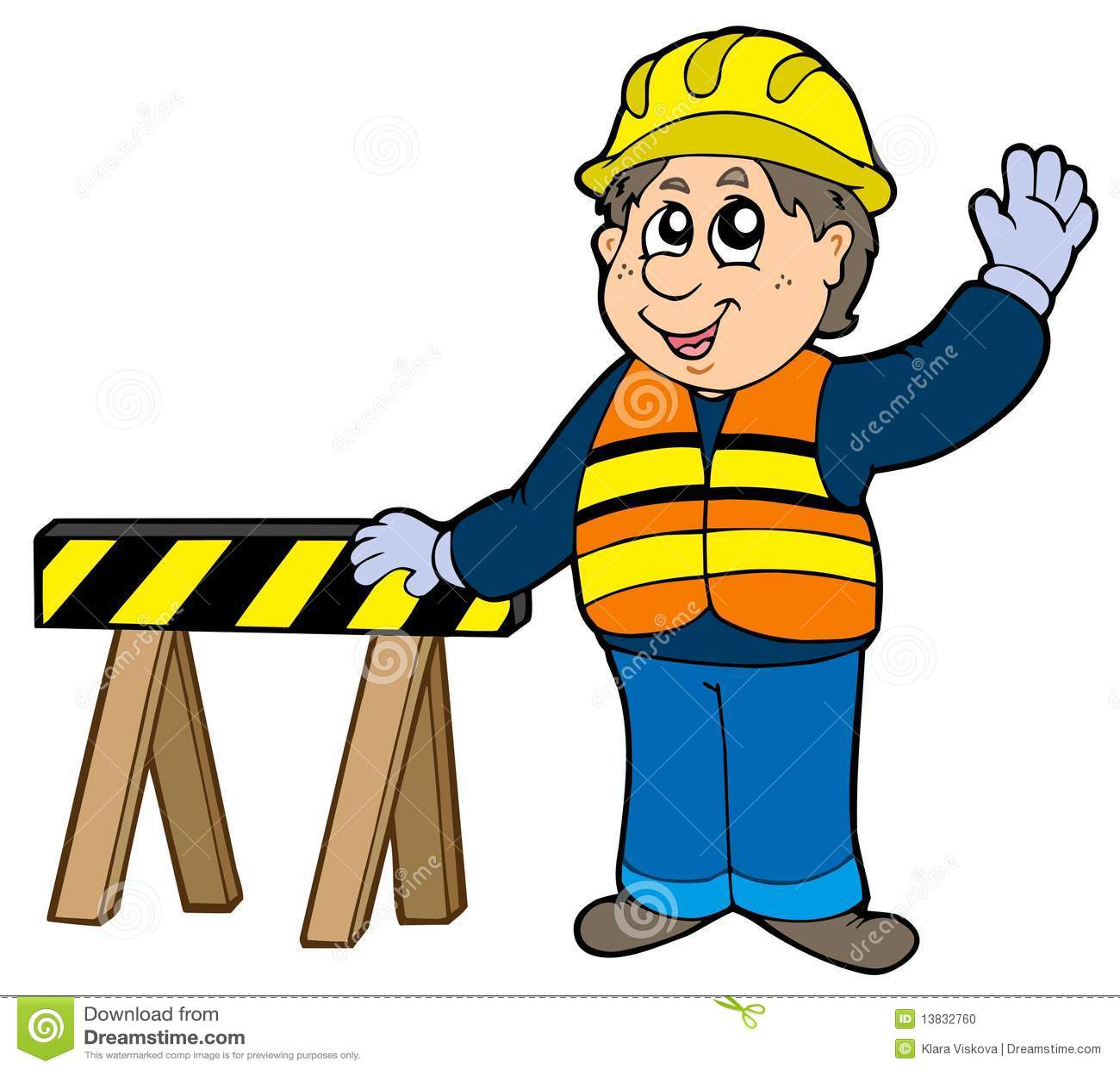 Construction Manager Cartoon : Cartoon construction worker stock photo image