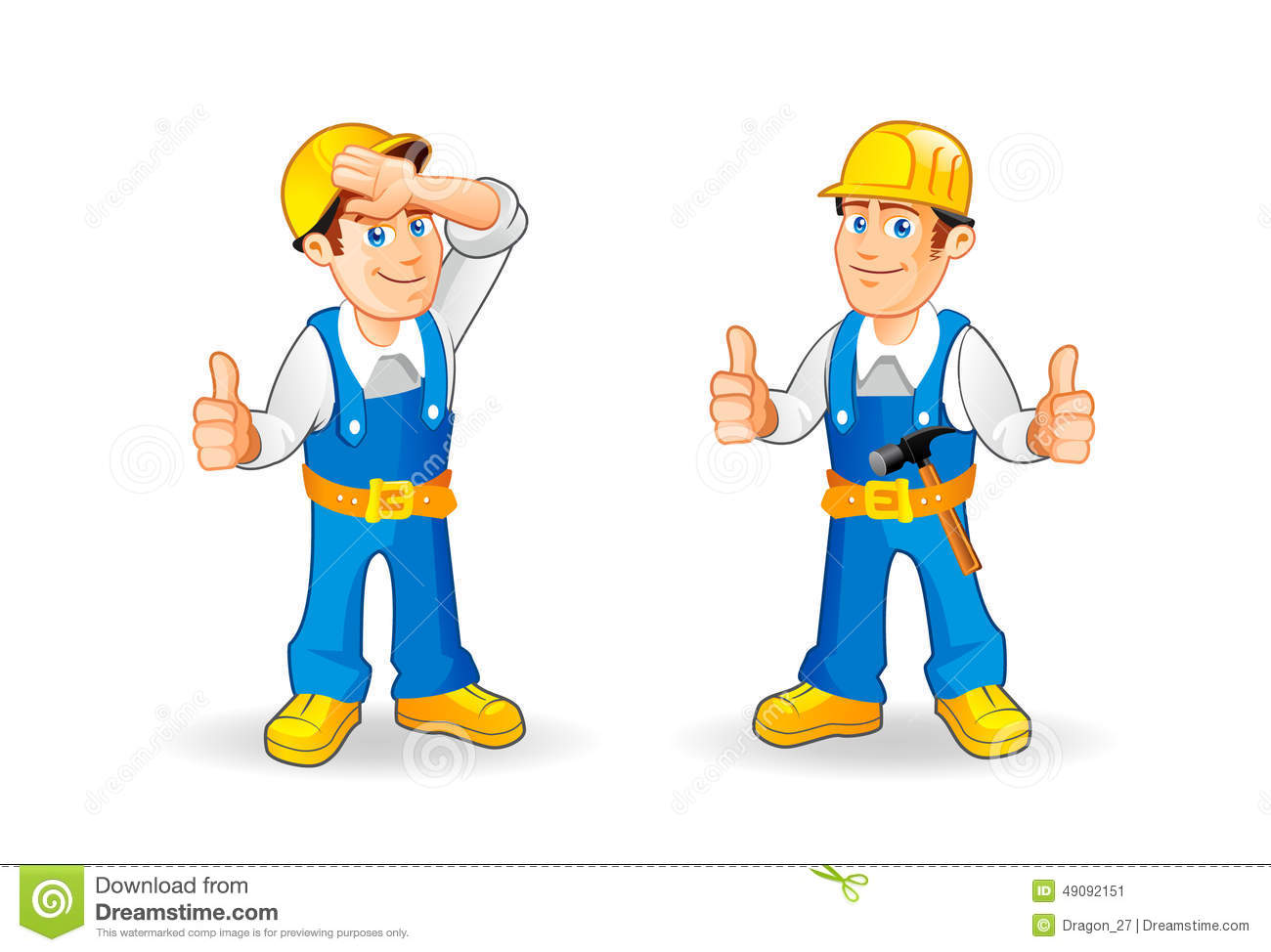 Cartoon Construction Worker Characters Set. Stock Vector ...