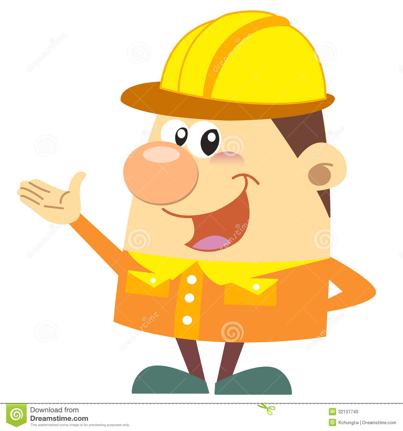 Cartoon Construction Worker With White Background Stock ...