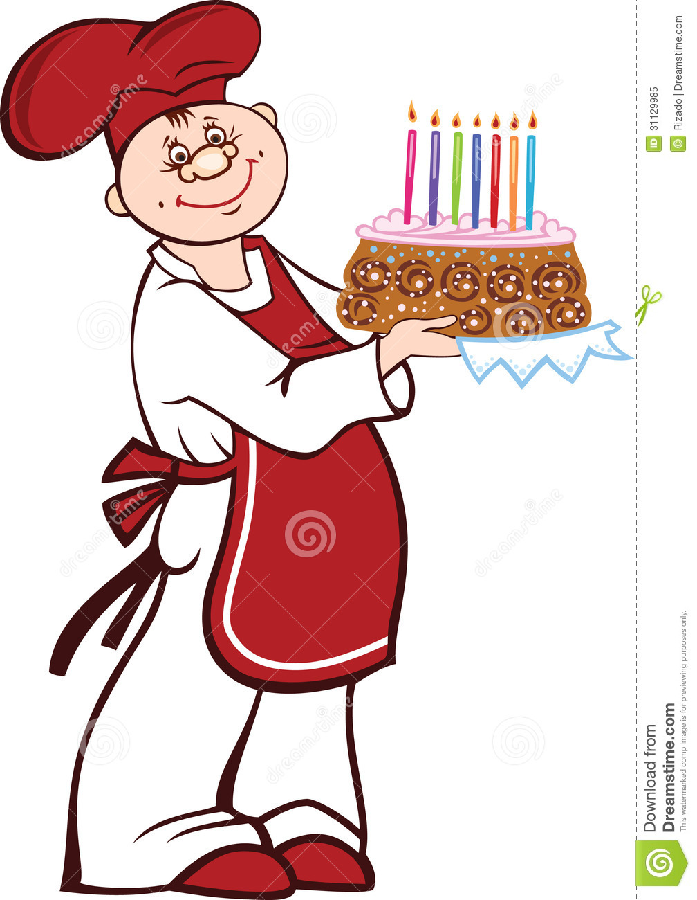 Cartoon Cook With Birthday Cake Stock Vector Image 31129985