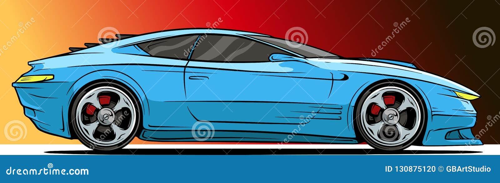 Cartoon cool modern blue sport racing car