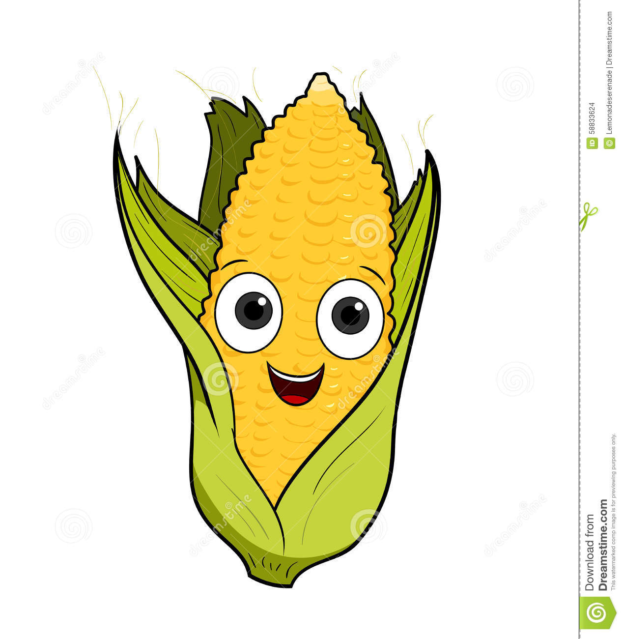 hand drawn vector illustration of a cartoon corn.