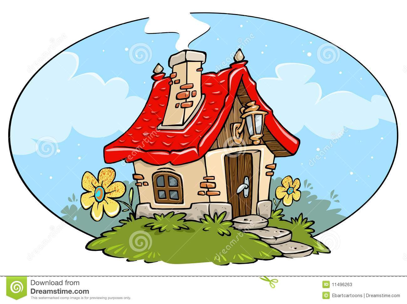 Cartoon Cottage Frame Stock Illustration Of Painting