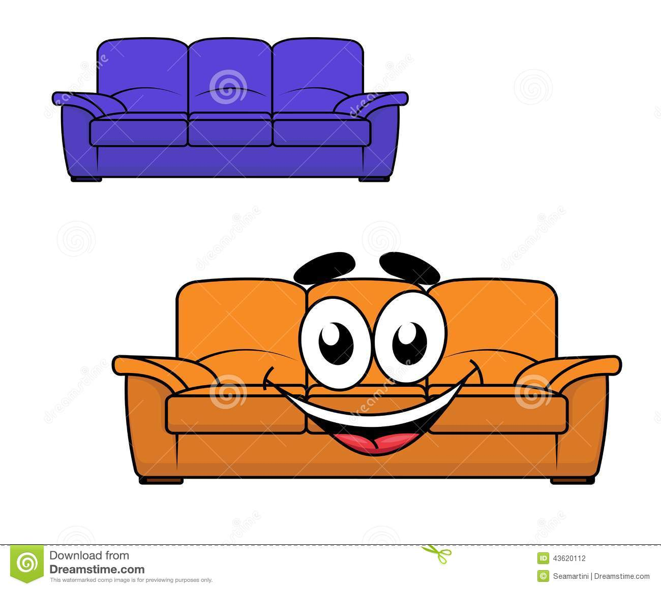 Cartoon Couch Furniture Stock Vector. Illustration Of