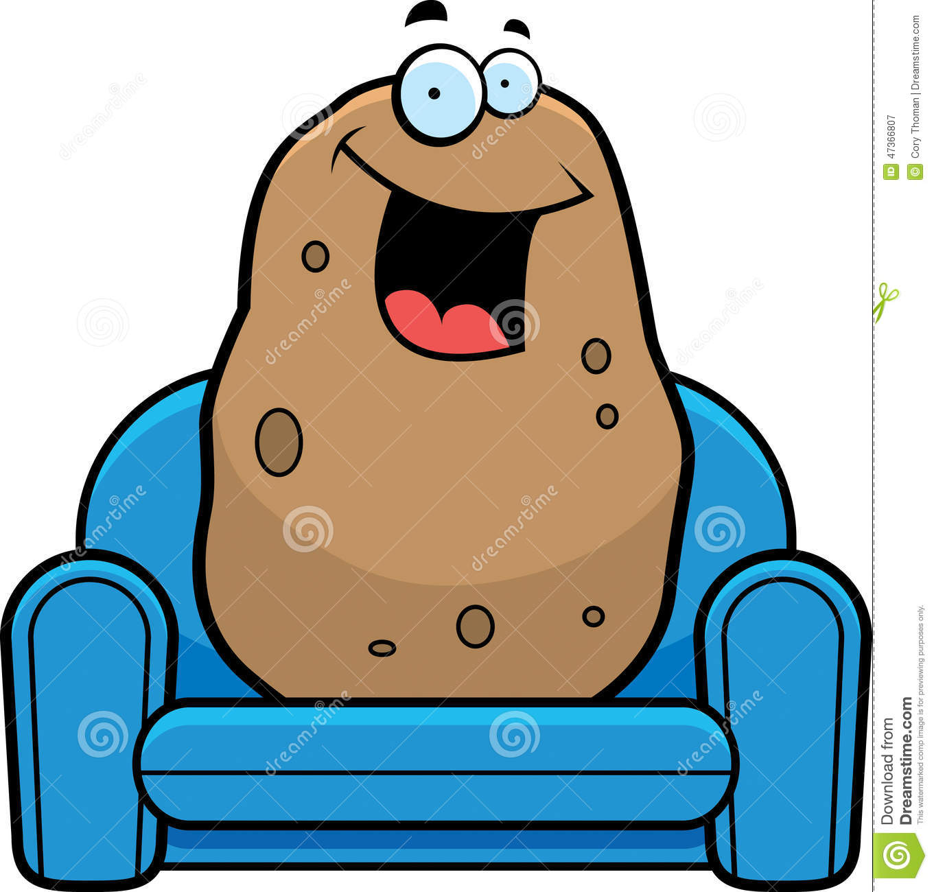 Cartoon Couch Potato Stock Vector Image Of Spud Smiling