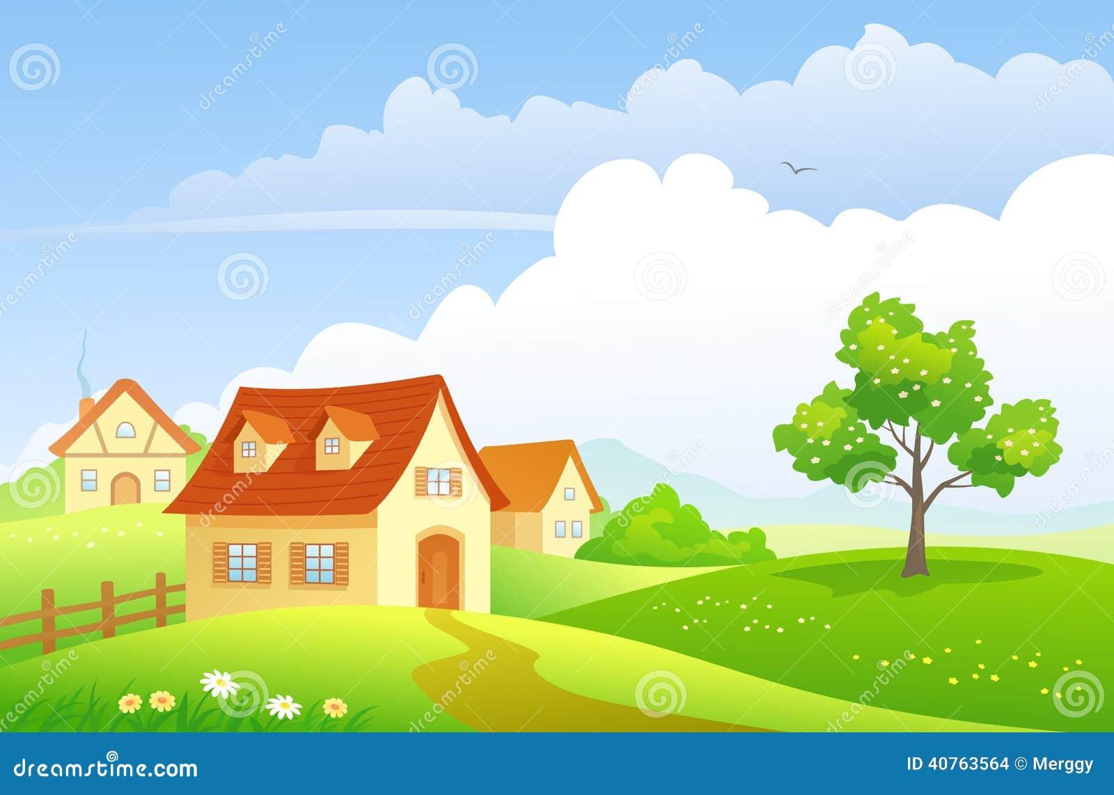 Beautiful garden cartoon - Cartoon Countryside Stock Images