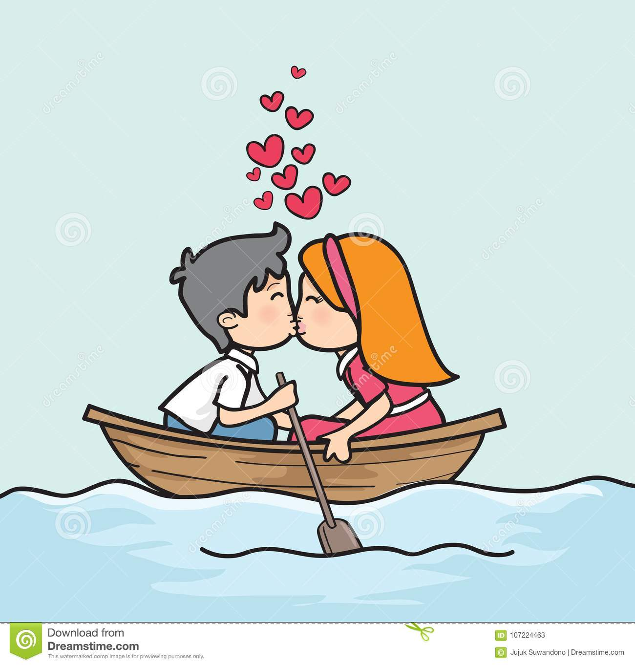 Cartoon Couple Kissing In Boat Valentine Day Stock Illustration