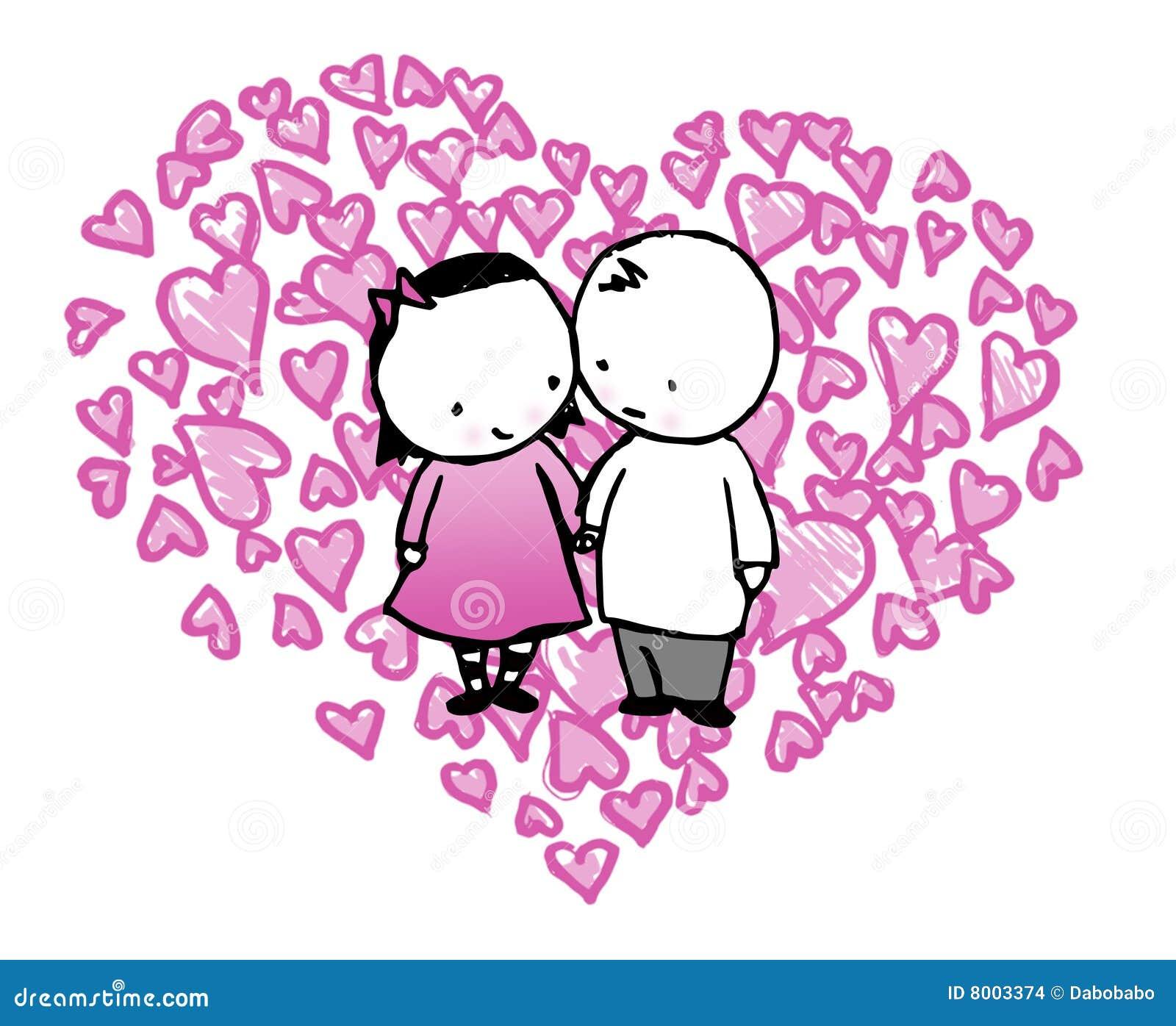In Love Cartoon: Cartoon Couple In Love Heart Stock Illustration