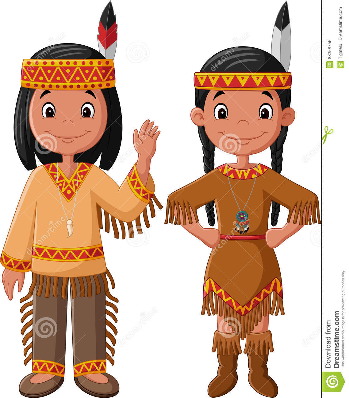 Cartoon Couple Native Indian American With Traditional ...