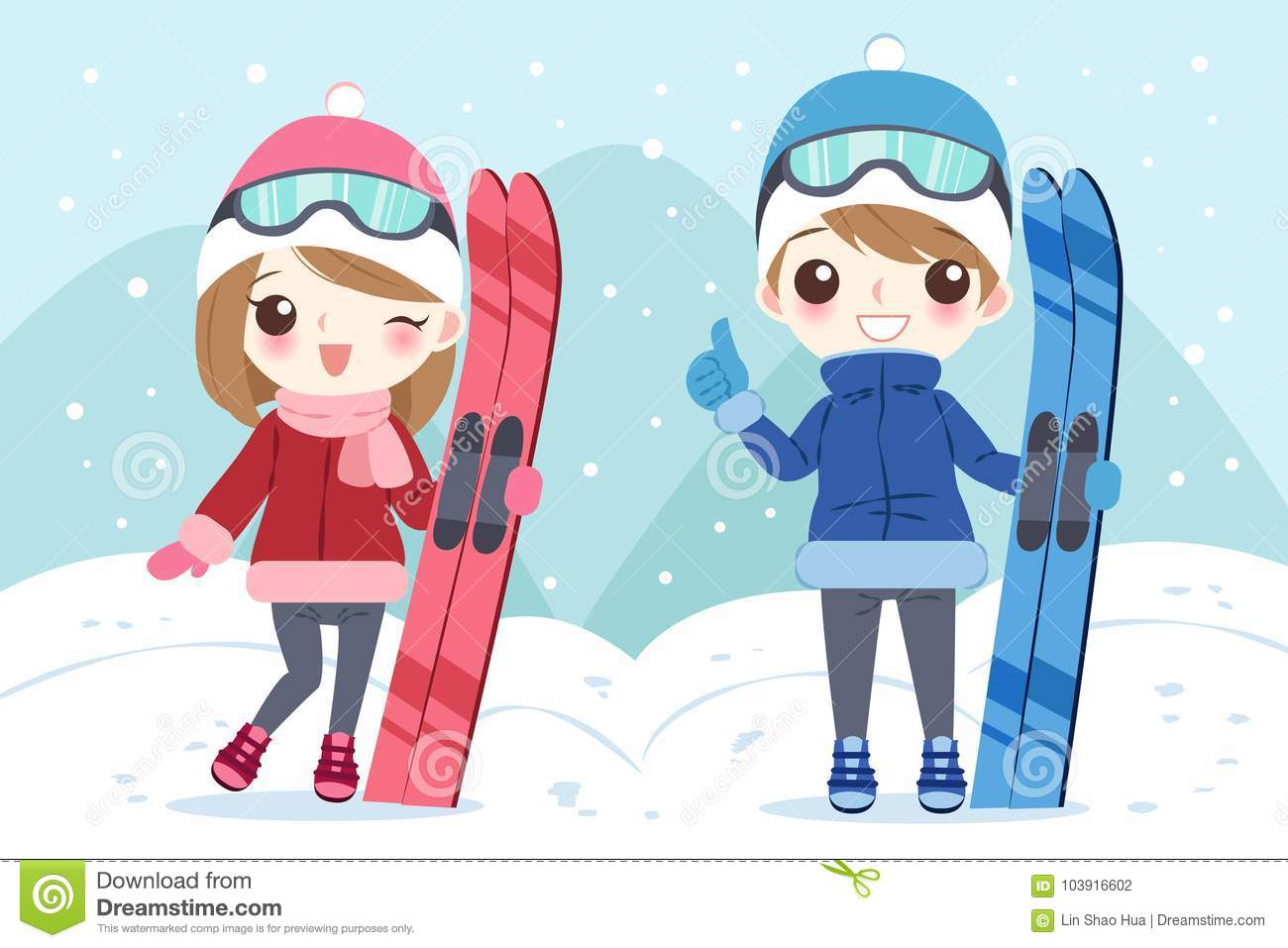 Couple with skiing stock vector  Illustration of hand