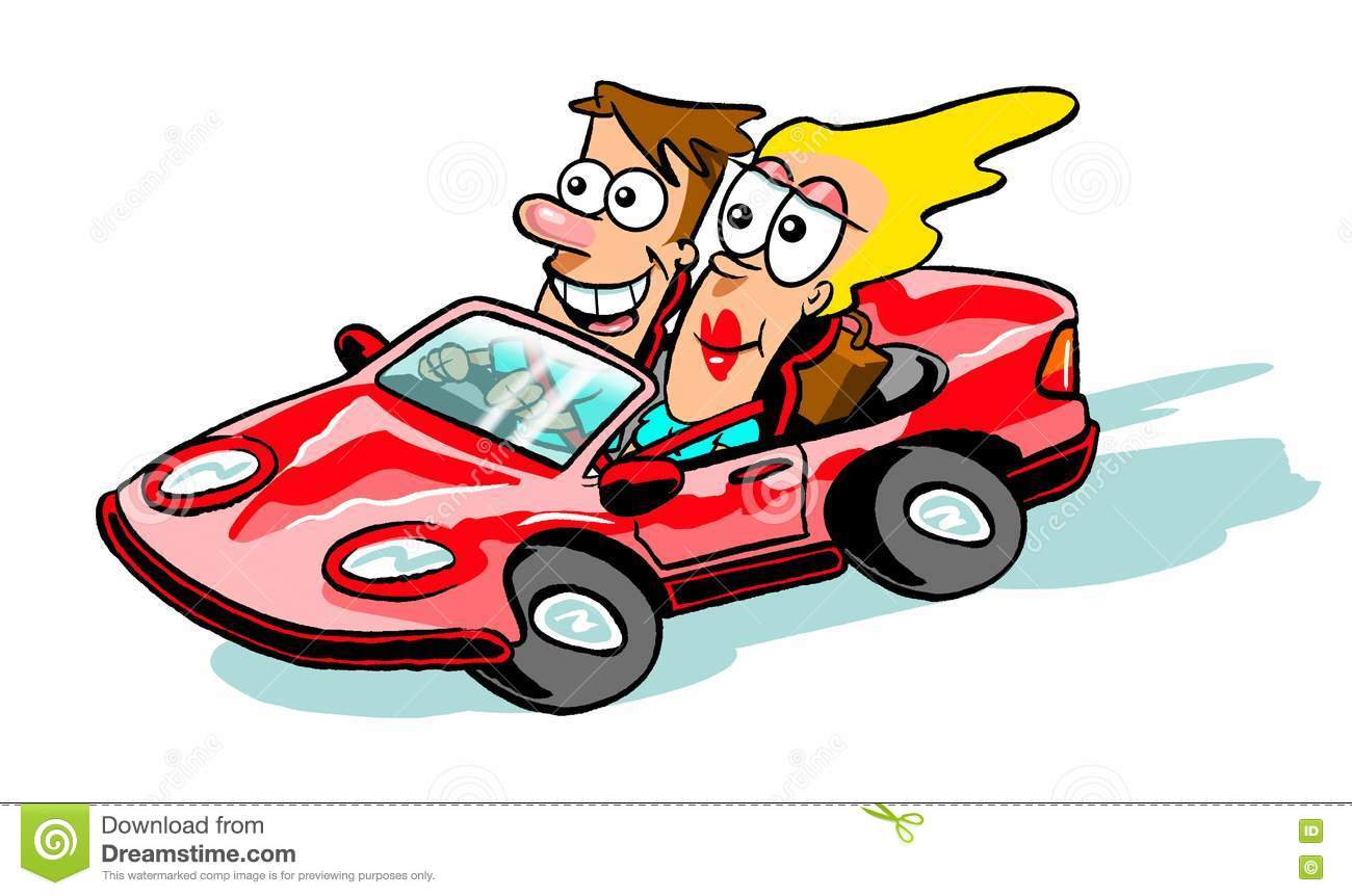 Cartoon Couple In Sports Car Stock Illustration Illustration Of