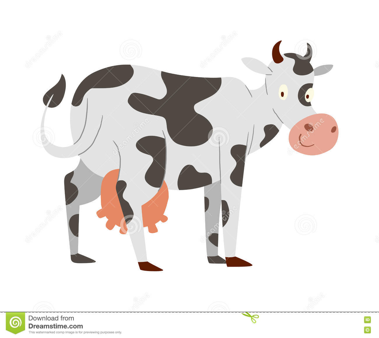 Cartoon Cow Character Isolated Stock Vector - Illustration of grass ...