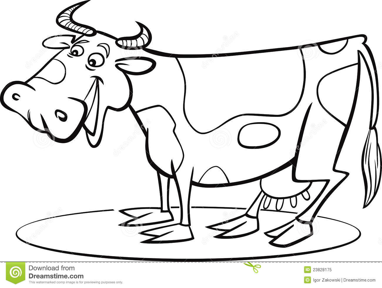 Cartoon cow coloring page stock vector. Illustration of ...