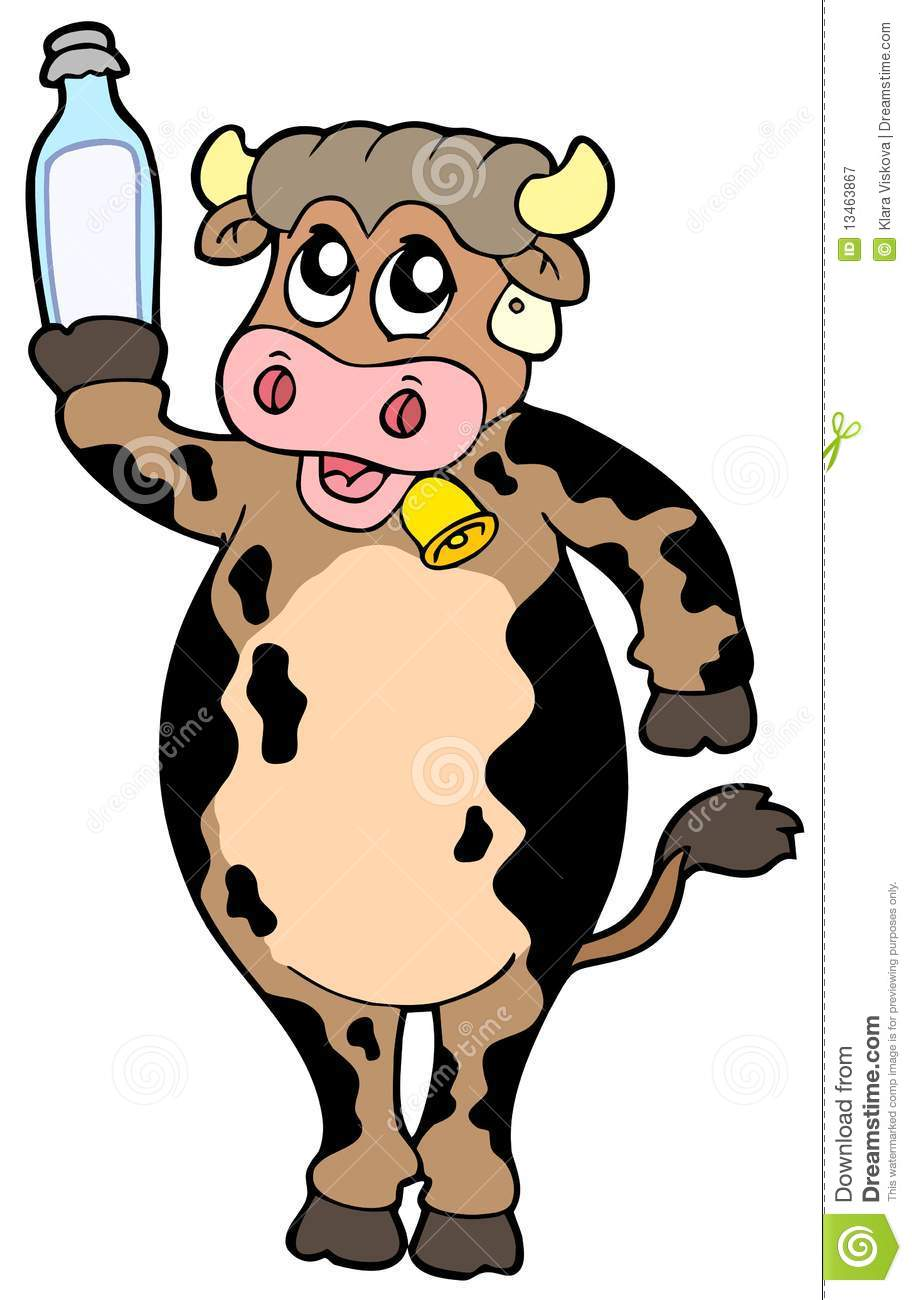 Cow Milk Animation Cartoon cow holding bottle of