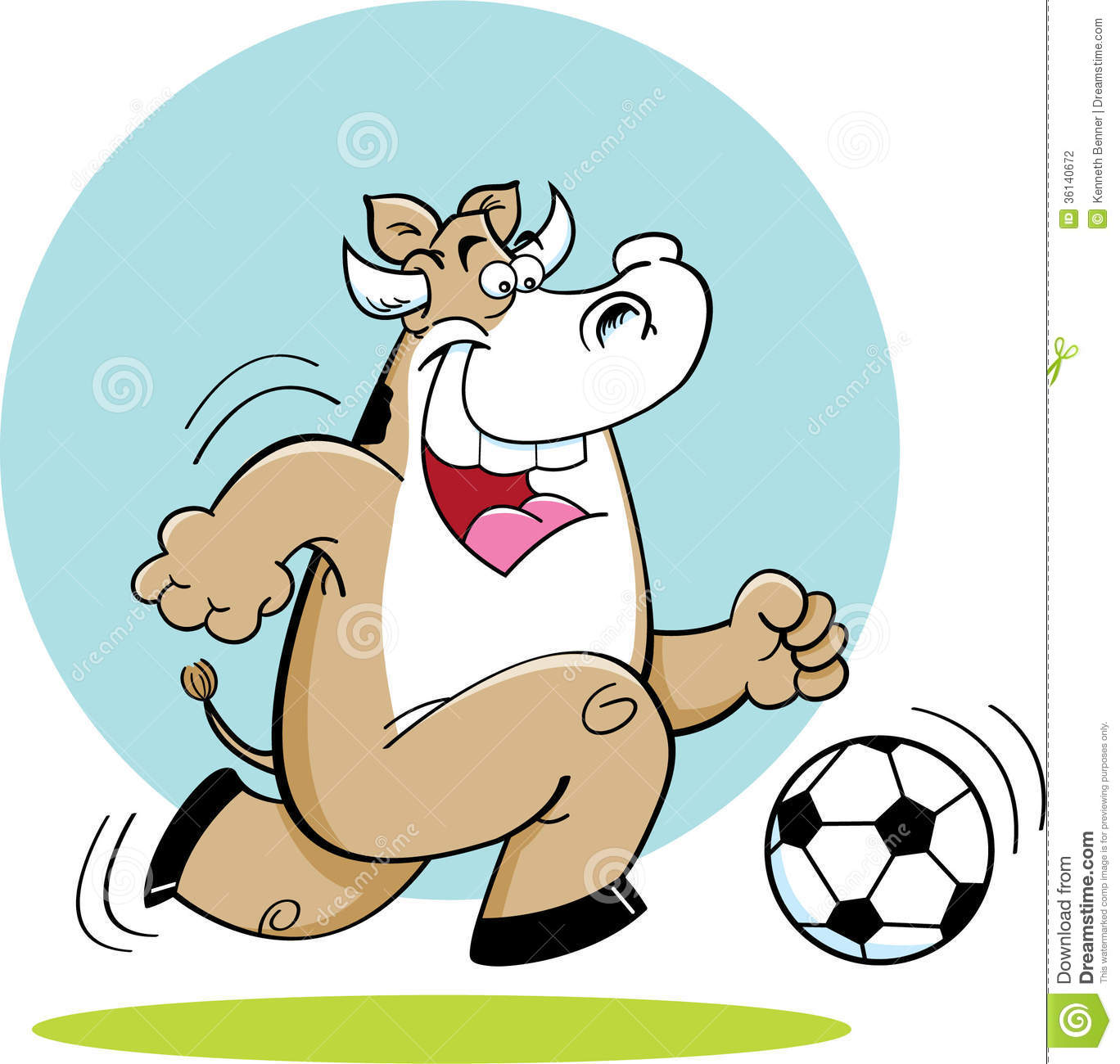 Cartoon Cow Playing Soccer. Stock Vector