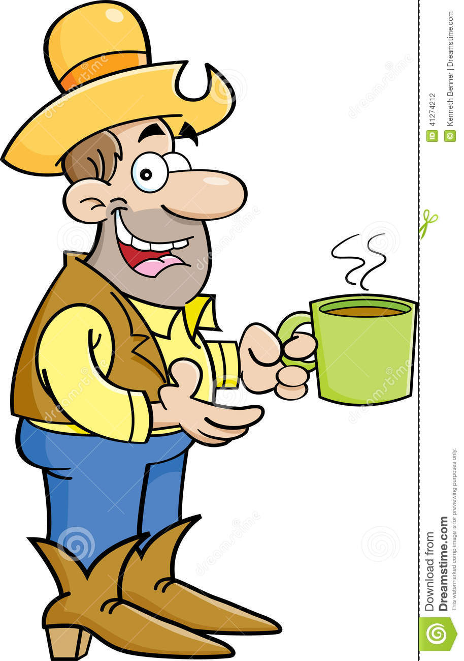 Cartoon Cowboy With Cup Of Coffee Stock Vector - Image: 41274212