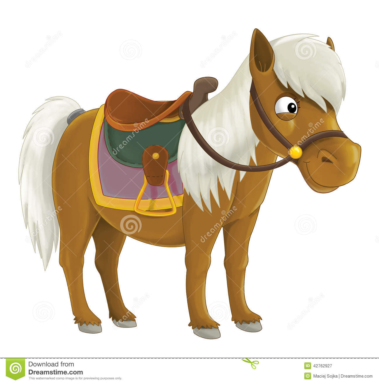 Cartoon Cowboy Horse Illustration For The Children Stock