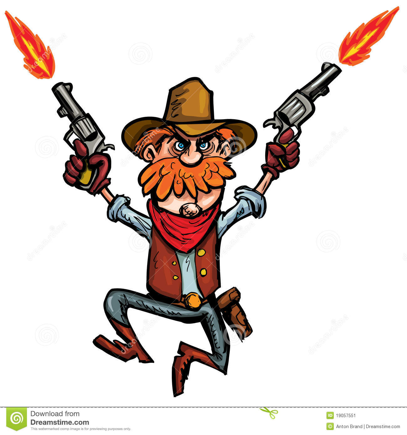 Cartoon Cowboy Jumping Up And Down With Six Guns Stock Image - Image ...