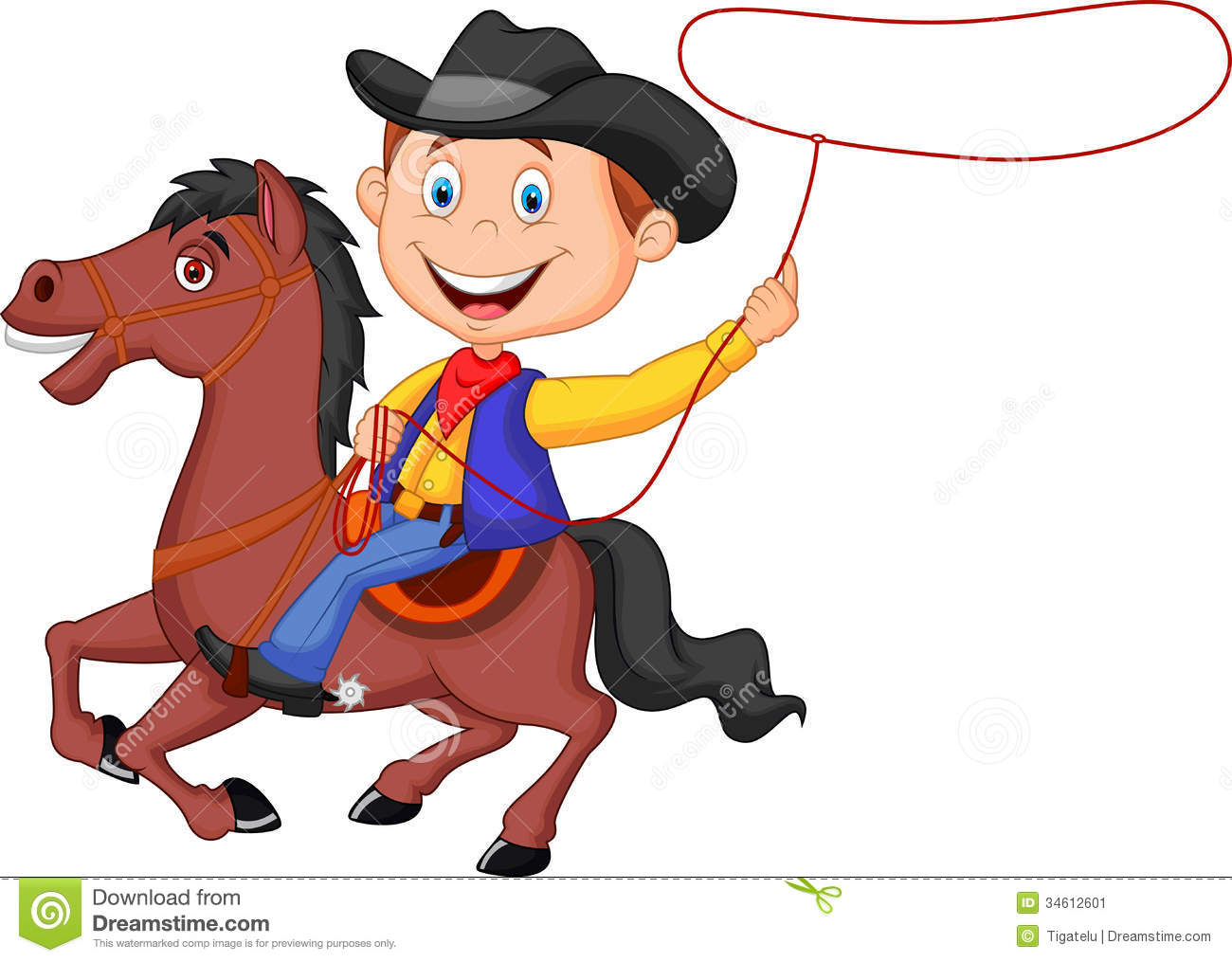 Western Horse Riding Clipart Cartoon Cowboy rider on the