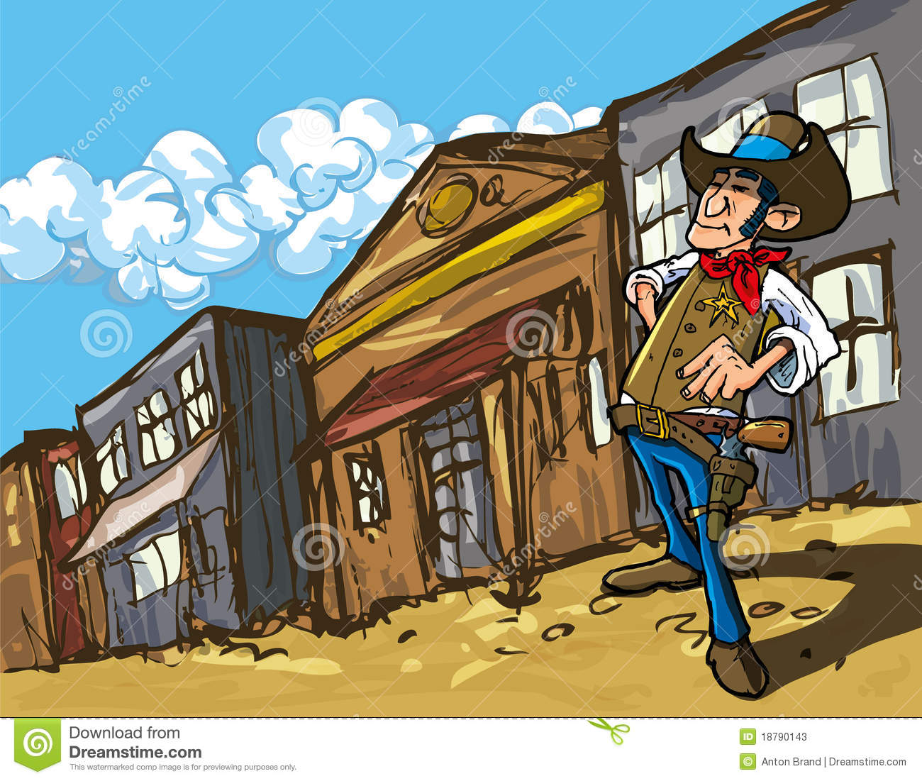 Cartoon Cowboy In A Western Old West Town Stock Photos