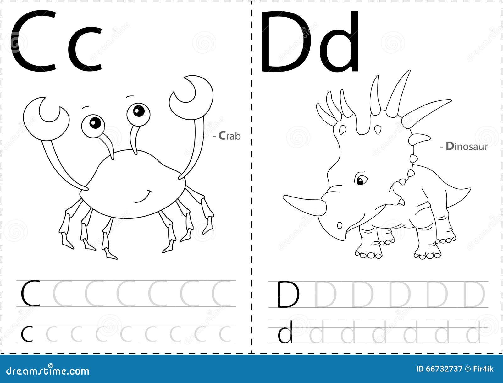 Cartoon Crab And Dinosaur. Alphabet Tracing Worksheet: Writing A Stock ...