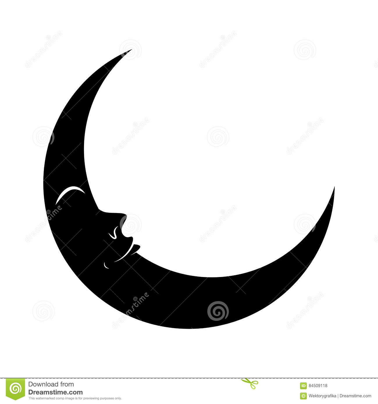 Cartoon crescent moon with eyes silhouette vector symbol icon de cartoon crescent moon with eyes silhouette vector symbol icon de buycottarizona Image collections