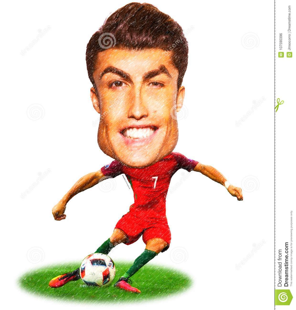 Cartoon Of Cristiano Ronaldo One Of The Greatest Football Soccer Editorial Photo Illustration Of Carries Black 107590396