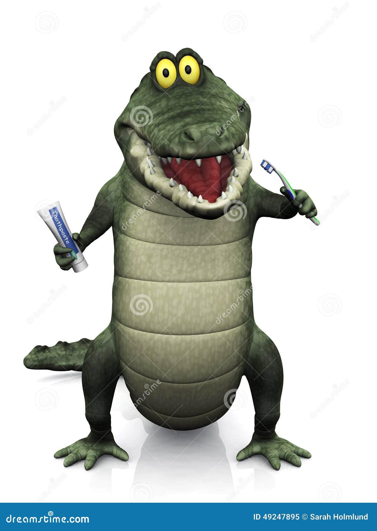 cartoon crocodile brushing his teeth  stock illustration