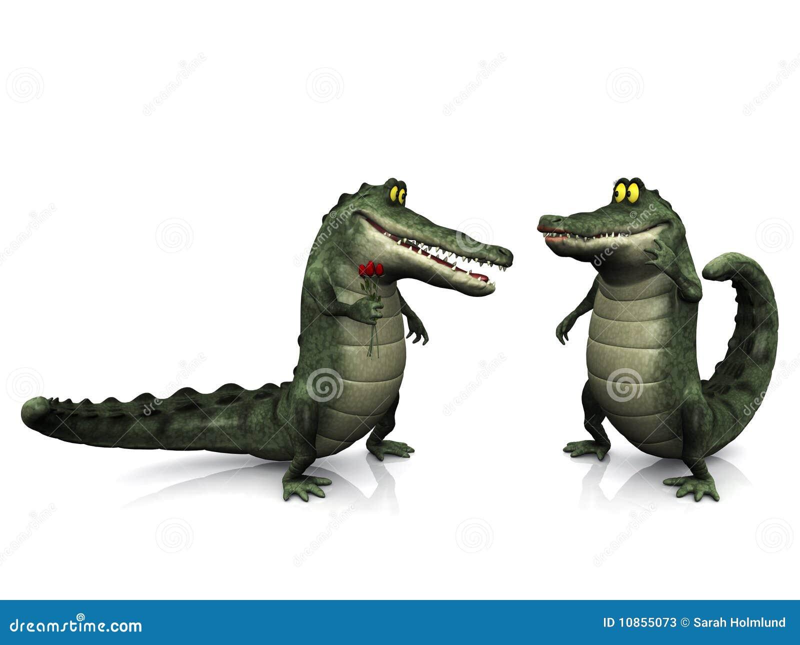 cartoon crocodile couple  stock illustration  illustration of smiling